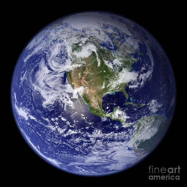 Earth Poster featuring the photograph Blue Marble Earth, North America by Science Source