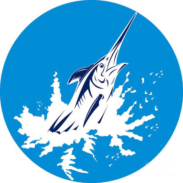 Blue Marlin Poster featuring the digital art Blue Marlin Circle by Aloysius Patrimonio