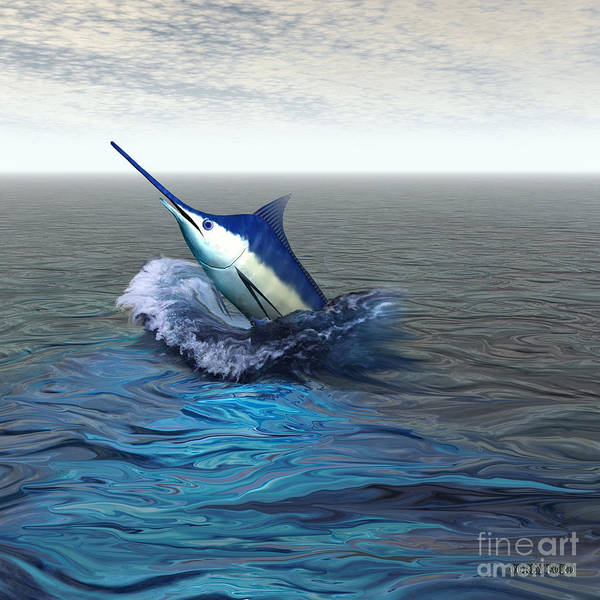 Blue Marlin Poster featuring the painting Blue Marlin by Corey Ford