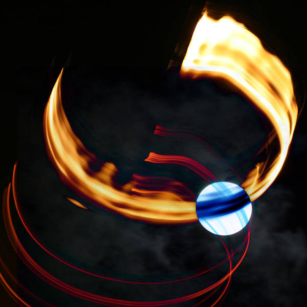 Abstract Poster featuring the digital art Blue Moon Fire Moon Abstract by Jane McDougall