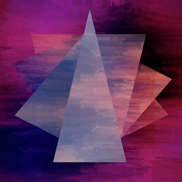 Brandi Fitzgerald Poster featuring the digital art Bold Fuchsia And Blue Triangles by Brandi Fitzgerald
