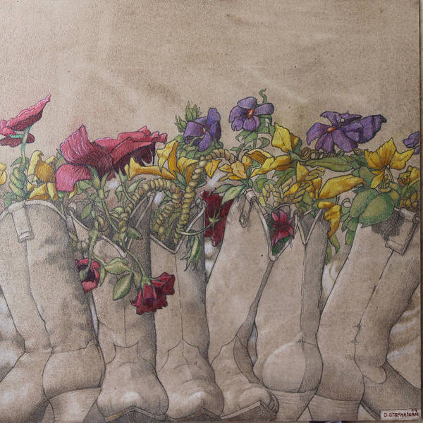 Acrylic Poster featuring the painting Boots And Flowers by Dan Stephanian