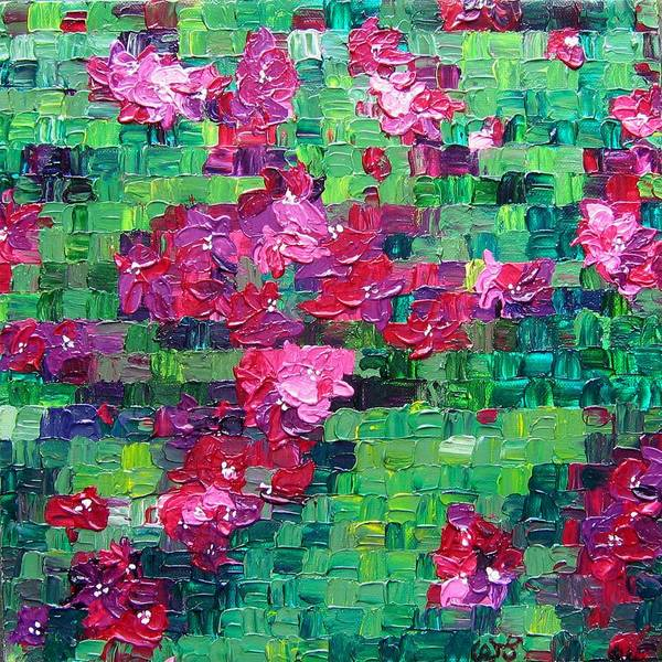Floral Poster featuring the painting Bouganvillea - Tiled by Wanda Pepin