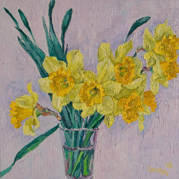 Bouquet Poster featuring the painting Bouquet Of Yellow Daffodils by Vitali Komarov