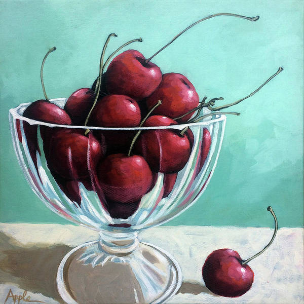 Cherries Poster featuring the painting Bowl Of Cherries by Linda Apple