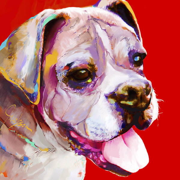 Boxer Poster featuring the painting Boxer Dog by Jackie Jacobson
