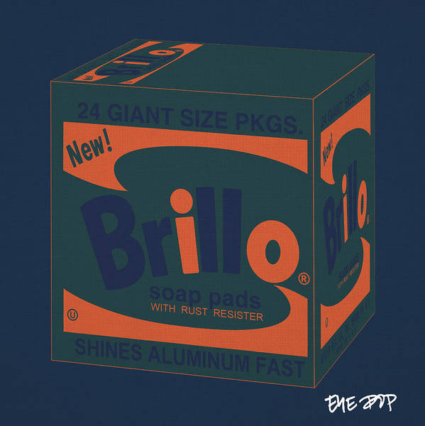 Poster featuring the digital art Brillo Box Colored 6 - Warhol Inspired by Peter Potamus