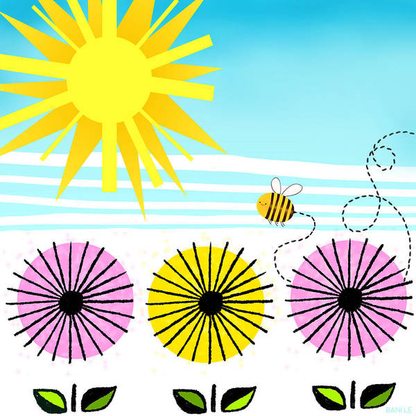 Bee Poster featuring the painting Buzzy As A Bee by Little Bunny Sunshine