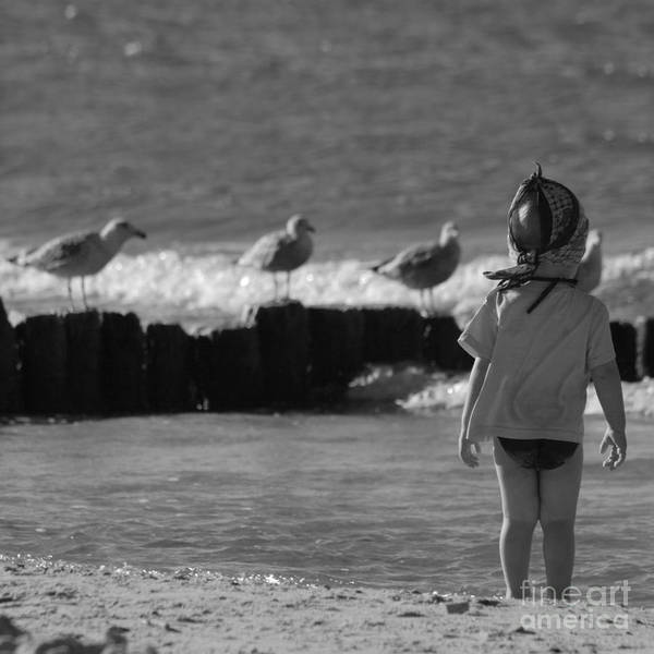 Child Poster featuring the photograph By The Sea by Angel Ciesniarska