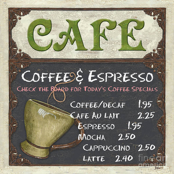 Cafe Poster featuring the painting Cafe Chalkboard by Debbie DeWitt