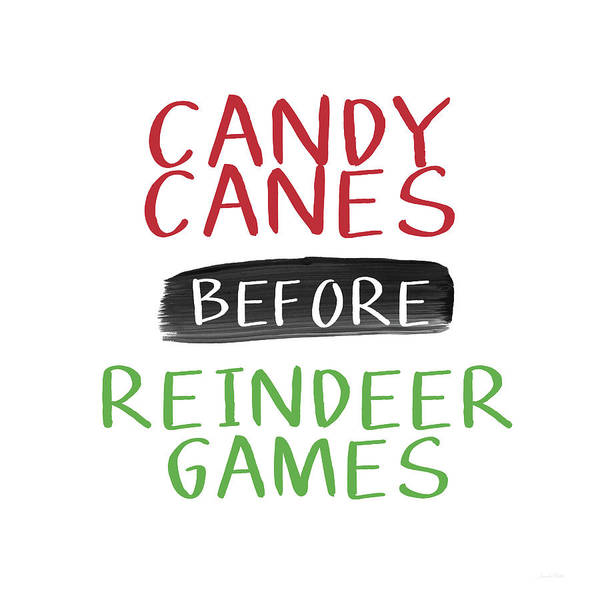 Candy Canes Poster featuring the digital art Candy Canes Before Reindeer Games- Art By Linda Woods by Linda Woods
