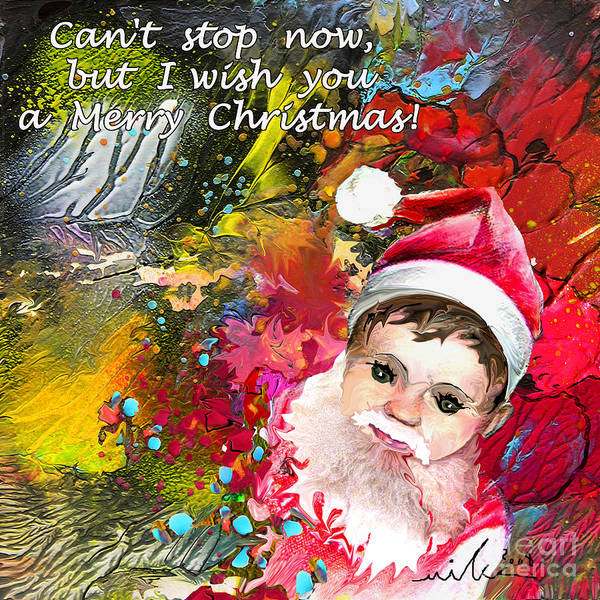 Santa Baby Painting Poster featuring the painting Cant Stop Now by Miki De Goodaboom