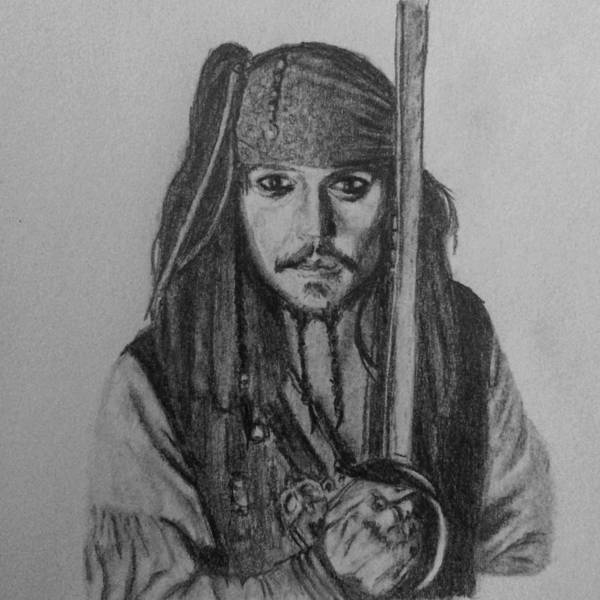 Jack Sparrow Poster featuring the drawing Captain Jack by Kate R