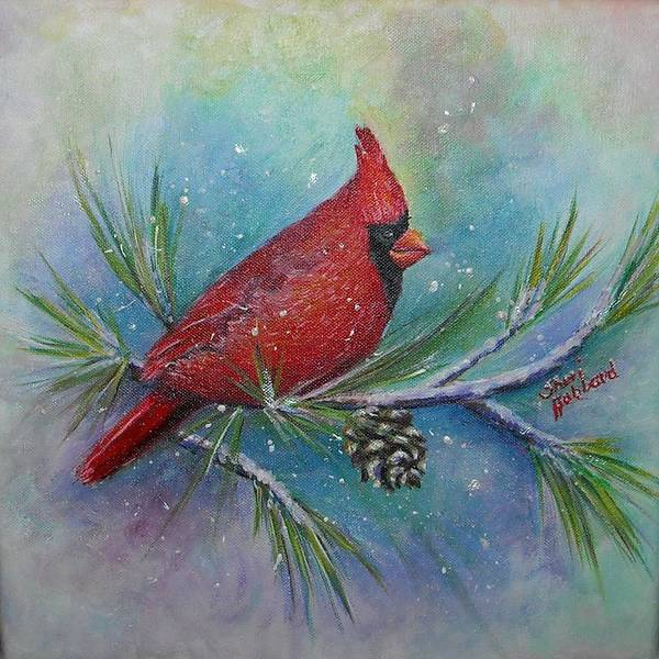 Red Poster featuring the painting Cardinal And Delta Snow by Sheri Hubbard