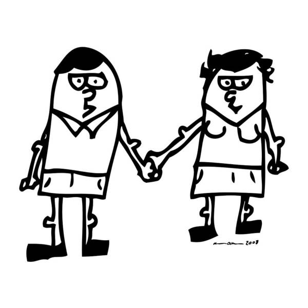Drawing Poster featuring the drawing Cartoon Couple by Karl Addison
