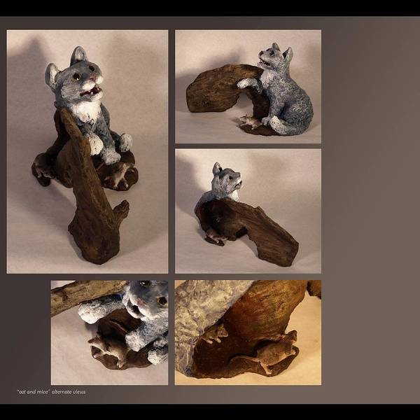 Cat Poster featuring the sculpture Cat And Mice Alternate Views by Katherine Huck Fernie Howard