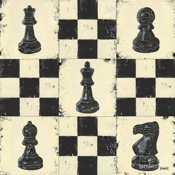 Chess Poster featuring the painting Chess Pieces by Debbie DeWitt