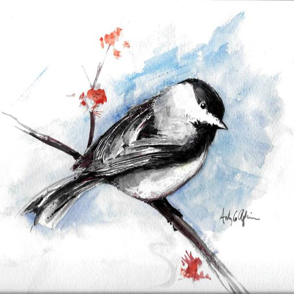 Chickadee Poster featuring the painting Chickadee Spring by Andrew Claflin
