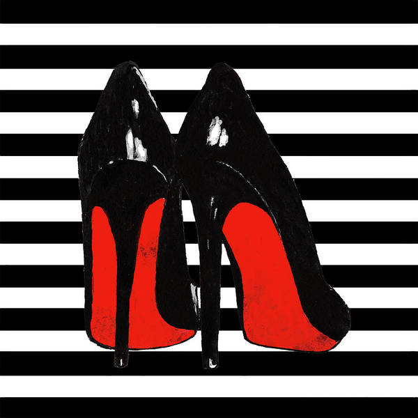 ad9064933331 Christian Louboutin Shoes Poster featuring the painting Christian Louboutin  Shoes Black by Del Art