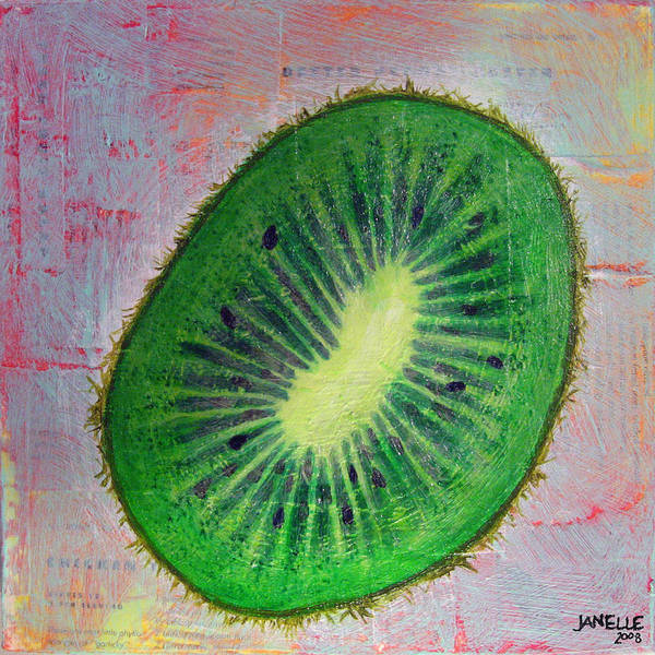 Kiwi Vegetable Fresh Bright Colorful Painting Mixed Media Janelle Schneider Paintbetty Poster featuring the painting Circular Food - Kiwi by Janelle Schneider