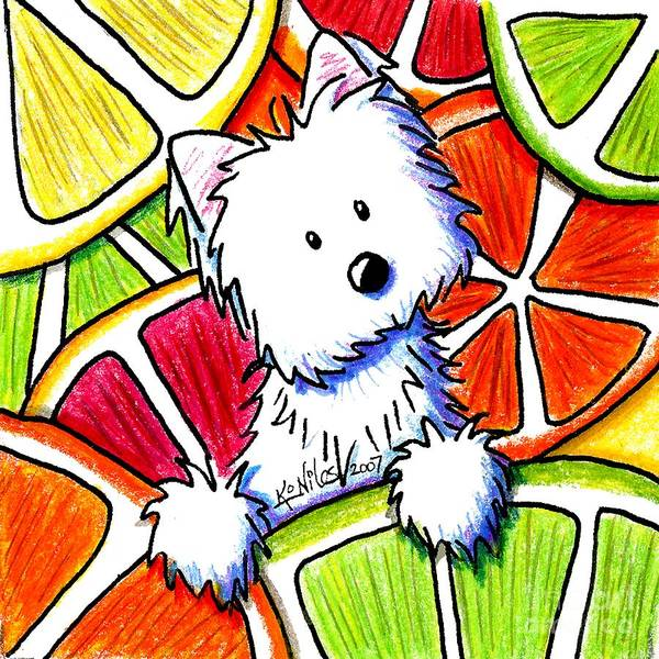 Dog Poster featuring the painting Citrus Westie by Kim Niles