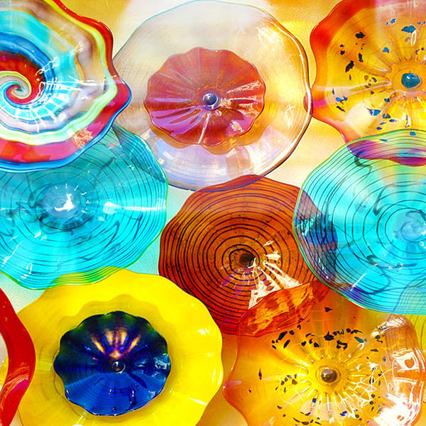 Glass Poster featuring the photograph Colorful Plates by Artist and Photographer Laura Wrede