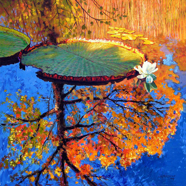 Fall Poster featuring the painting Colors Of Fall On The Lily Pond by John Lautermilch