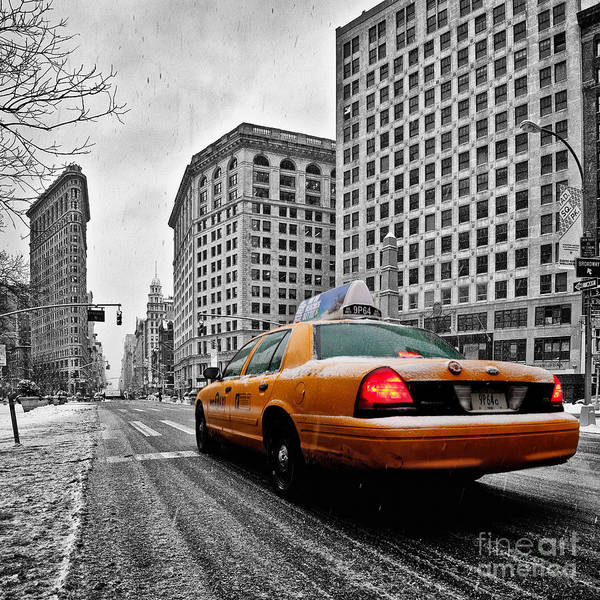 New York City Print Poster featuring the photograph Colour Popped Nyc Cab In Front Of The Flat Iron Building by John Farnan