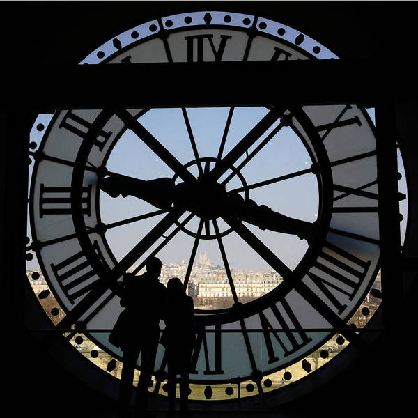 Europe Poster featuring the photograph Couple And Clock D'orsay Museum Paris by Lawrence S Richardson Jr