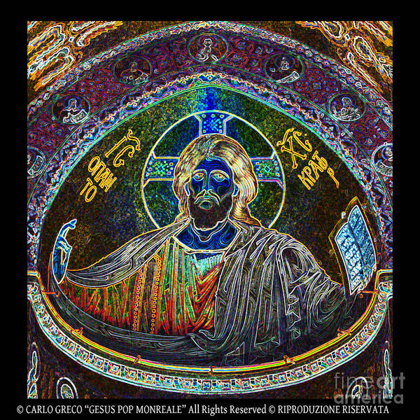 Mosaic Of Christ Pantocrator Mosaic Of The Cathedral Of Monreale Poster featuring the photograph Cristo by Carlo Greco