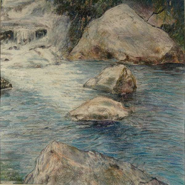 Colored Pencil Poster featuring the drawing Crivitz Creek by Lois Guthridge