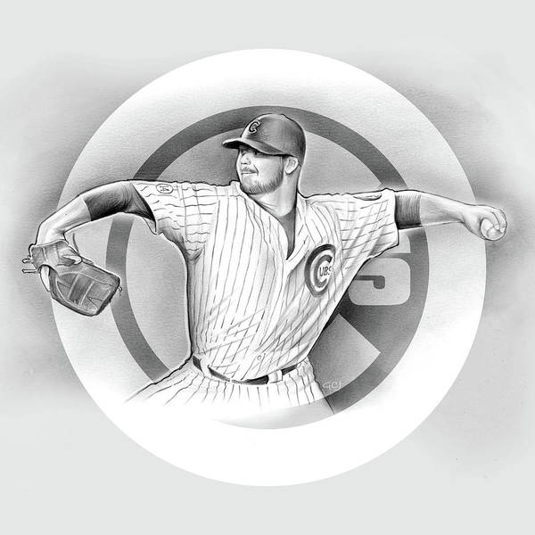 2016 Poster featuring the drawing Cubs 2016 by Greg Joens