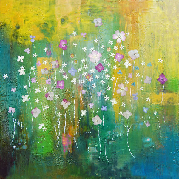Abstract Poster featuring the painting Dancing Wildflowers Series by Joya Paul