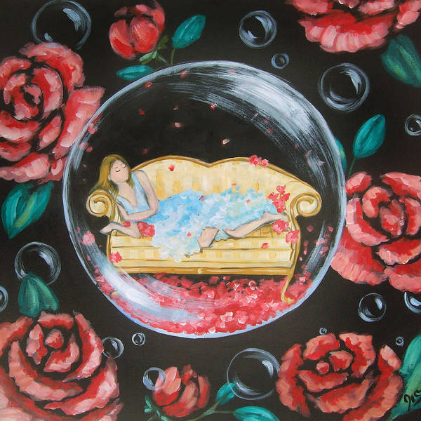 Art Poster featuring the painting Day Dreaming In My Bubble by Ira Mitchell-Kirk