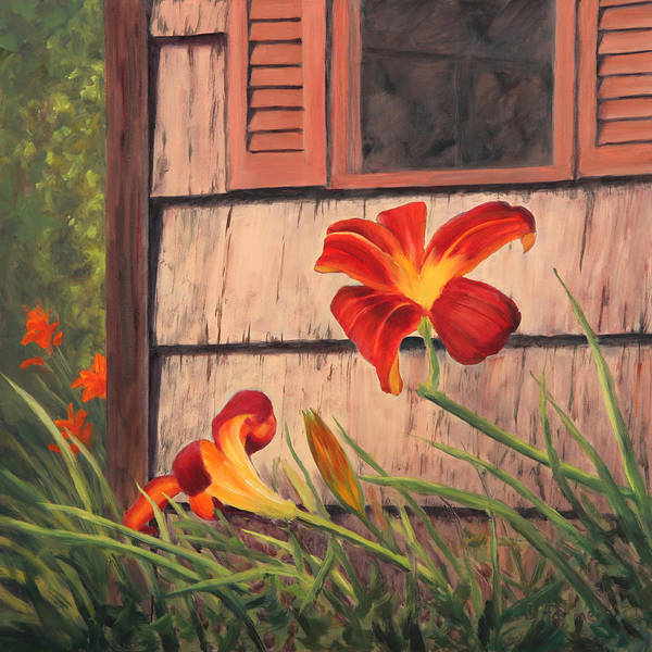 Daylily Poster featuring the painting Daylilies At The Shed by Elaine Farmer