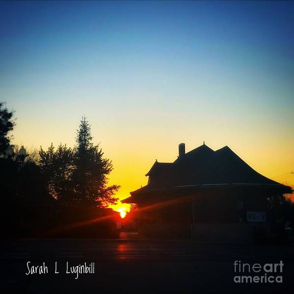 Photograph Poster featuring the painting Depot At Sunset by Sarah Luginbill