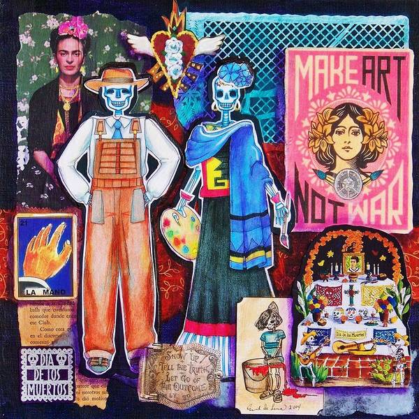 Diego Rivera Poster featuring the mixed media Diego And Frida by Candy Mayer