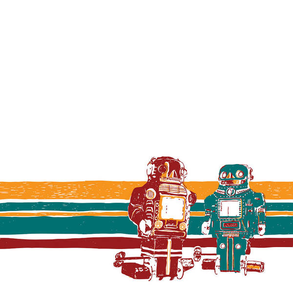Drawing Poster featuring the drawing Doubotganger Robots by Karl Addison