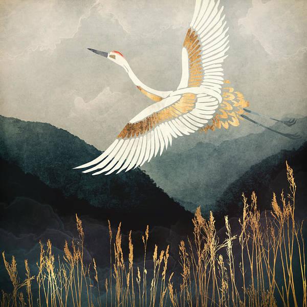 Crane Poster featuring the digital art Elegant Flight by Spacefrog Designs