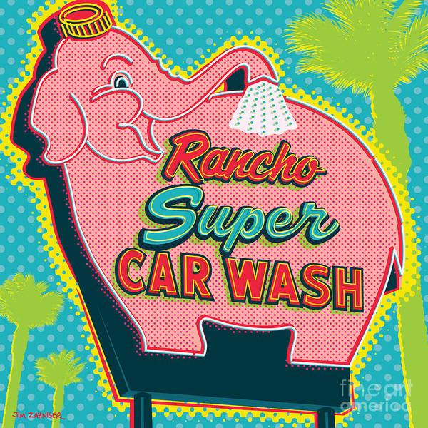 Pop Art Poster featuring the digital art Elephant Car Wash - Rancho Mirage - Palm Springs by Jim Zahniser