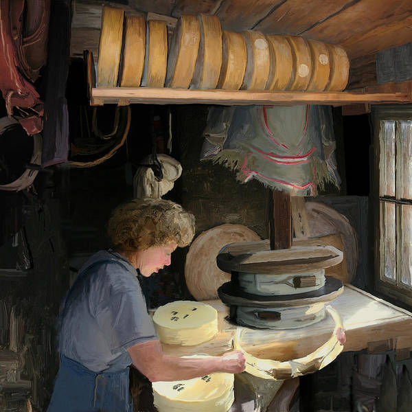 Old Poster featuring the painting European Cheesemaker by Carol Peck