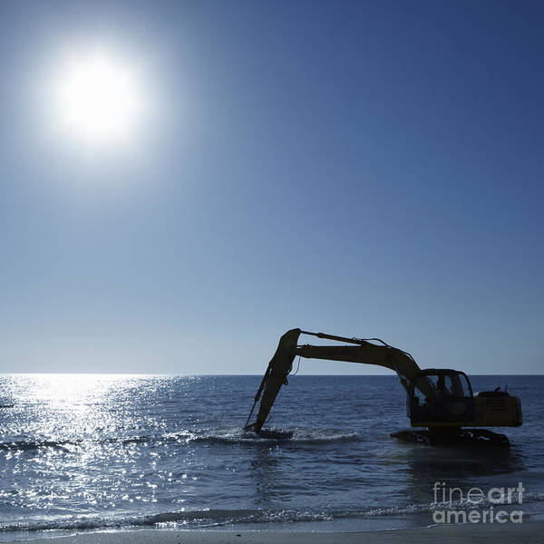 Beach Poster featuring the photograph Excavator Digging In The Ocean by Skip Nall