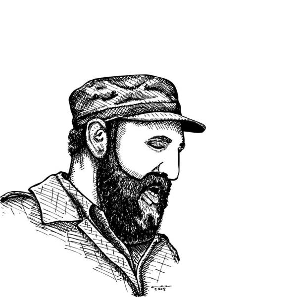 Drawing Poster featuring the drawing Fidel Castro by Karl Addison