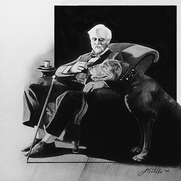 Man And Dog Poster featuring the drawing Fireside by Joe Costello
