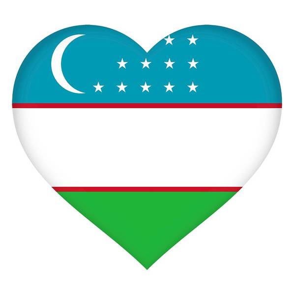 Uzbekistan Poster featuring the digital art Flag Of Uzbekistan Heart by Roy Pedersen