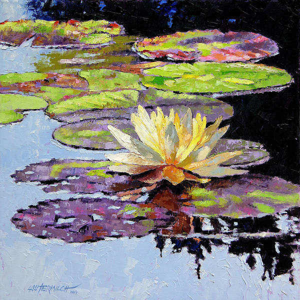 Golden Water Lily Poster featuring the painting Floating Gold by John Lautermilch