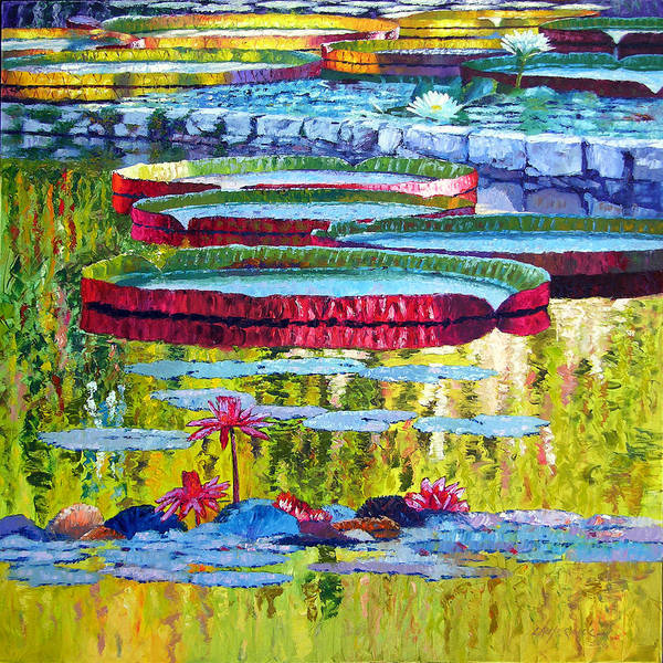 Lily Pond Poster featuring the painting Floating Parallel Universes by John Lautermilch