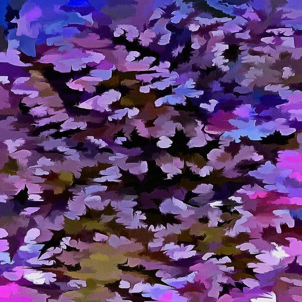 Dusty Miller Poster featuring the digital art Foliage Abstract In Blue, Pink And Sienna by Taiche Acrylic Art