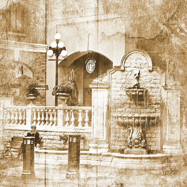 Sepia Poster featuring the photograph Fountain Of Rest by Dale Stillman