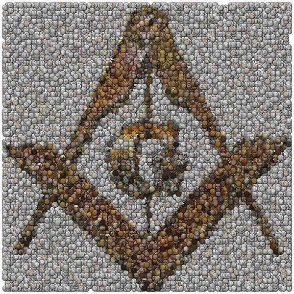 Free Mason Poster featuring the mixed media Freemason Coin Mosaic by Paul Van Scott